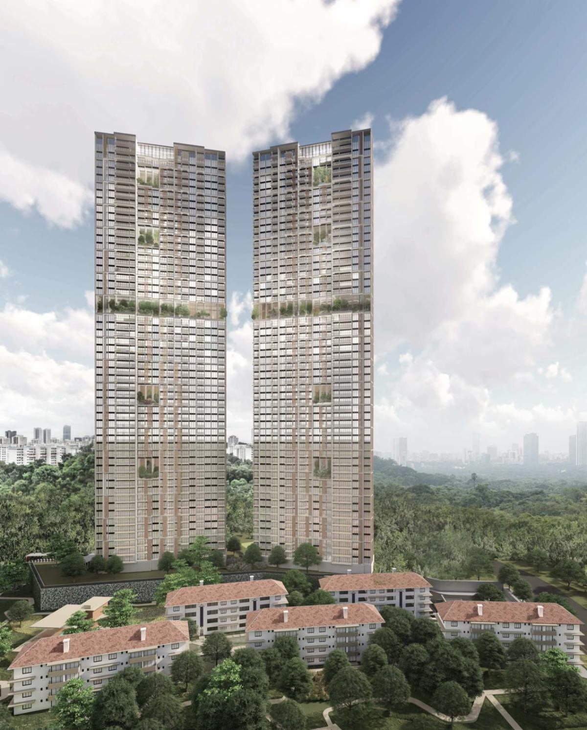 ADDP Architects unveils sustainable high-rise twin towers overlooking  conserved buildings in Singapore - De51gn